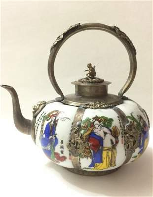 Chinese Immortals Porcelain/Silver Teapot