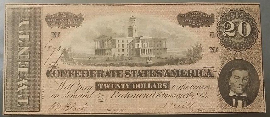 Confederate 1864 $20 Civil War Bill / Note