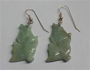 Vintage Carved Jade & 14kt Gold Earrings