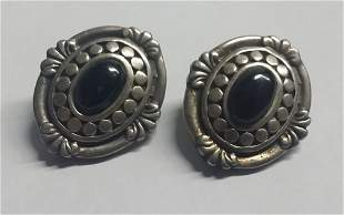 Vintage Sterling Silver & Onyx Earring