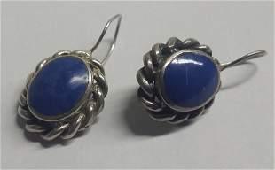 Vintage Sterling Silver & Lapis Earrings