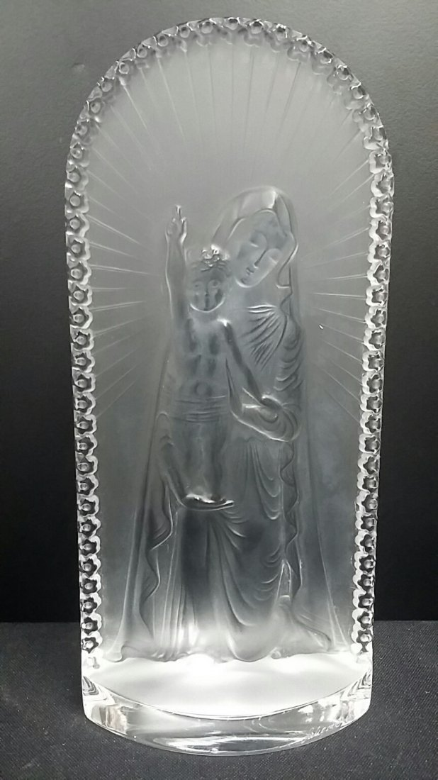 Vintage Lalique Crystal St Mary Plaque
