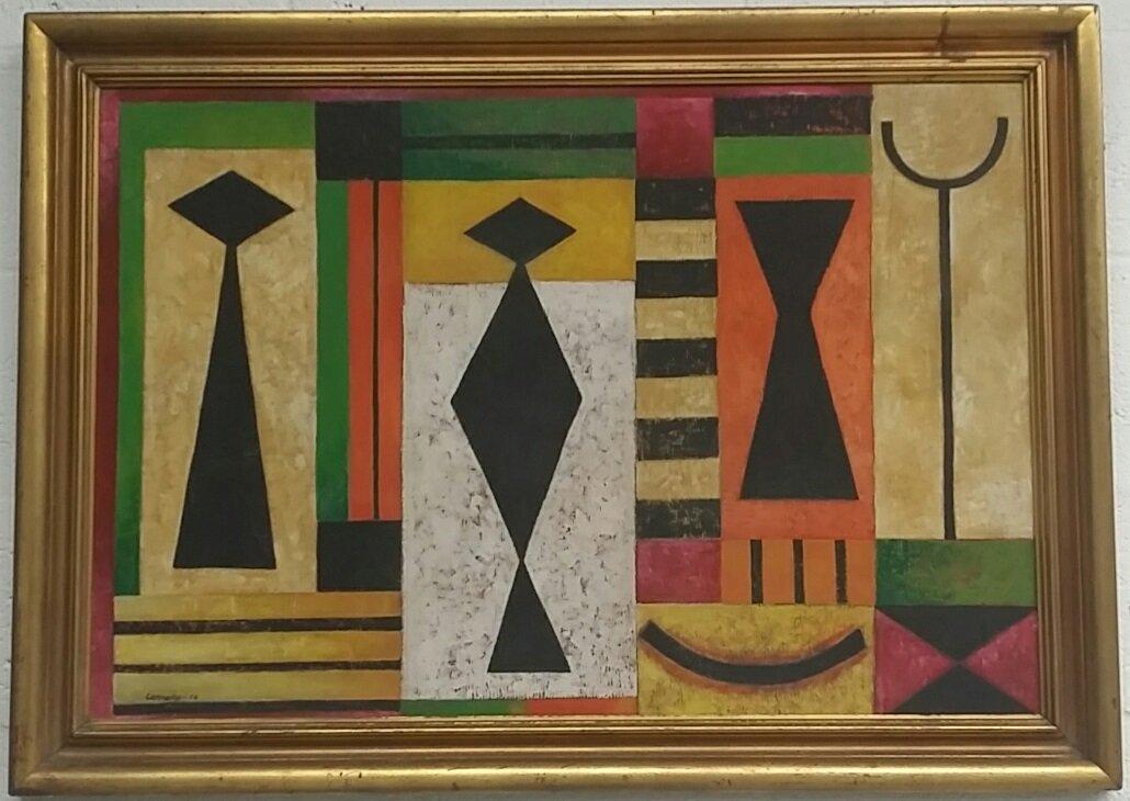 Mario Carreno (Cuban) Oil On Cardboard