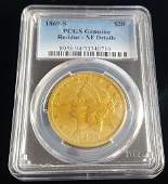 1869 $20 Dollar Gold Double Eagle Coin