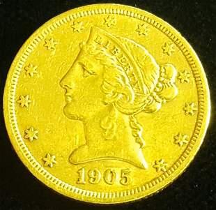 1905 $5 Dollar Gold Liberty Coin