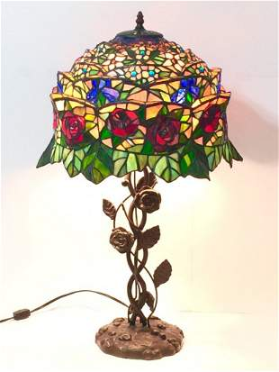 "Stunning 27"" TIFFANY style Bronze Base Table Lamp"