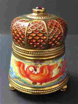 Signed FABERGE Porcelain Trinket Box/Music Box