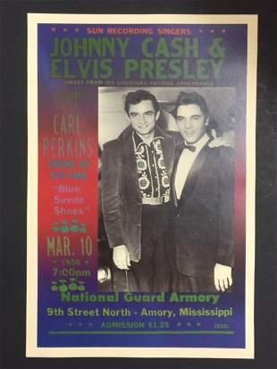 1956 ELVIS PRESLEY & JOHNNY CASH Concert Poster