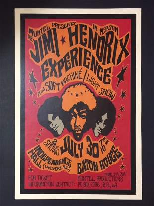 60's The JIMI HENDRIX Experience Concert Poster
