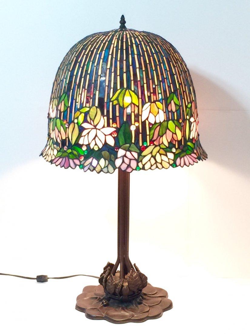 "Stunning 34"" TIFFANY style Bronze Base Table Lamp"