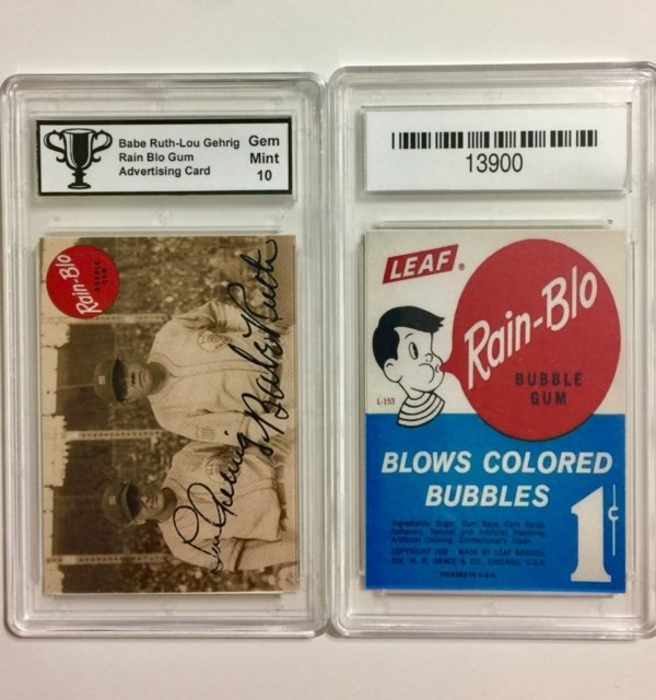 BABE RUTH & LOU GEHRIG Advertising Baseball Card