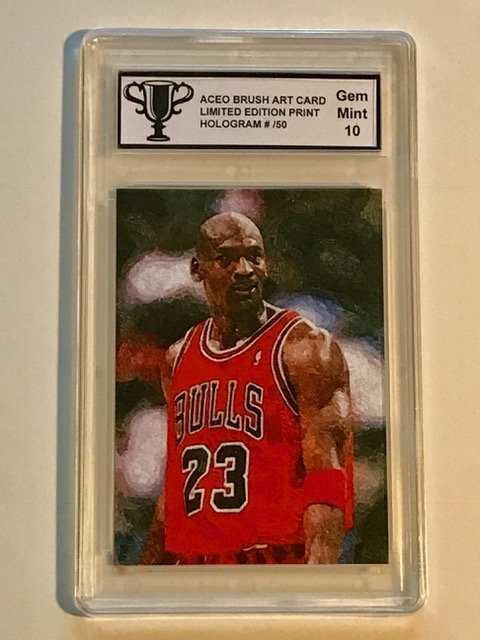 VERY RARE Brush Art MICHAEL JORDAN Basketball Card
