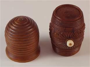 Two Treen cotton reel holders