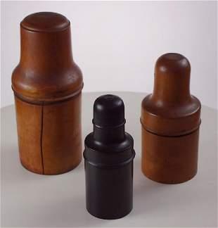 3 Treen Medicine Bottle cases