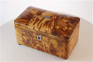 Tortoise shell tea caddy with two