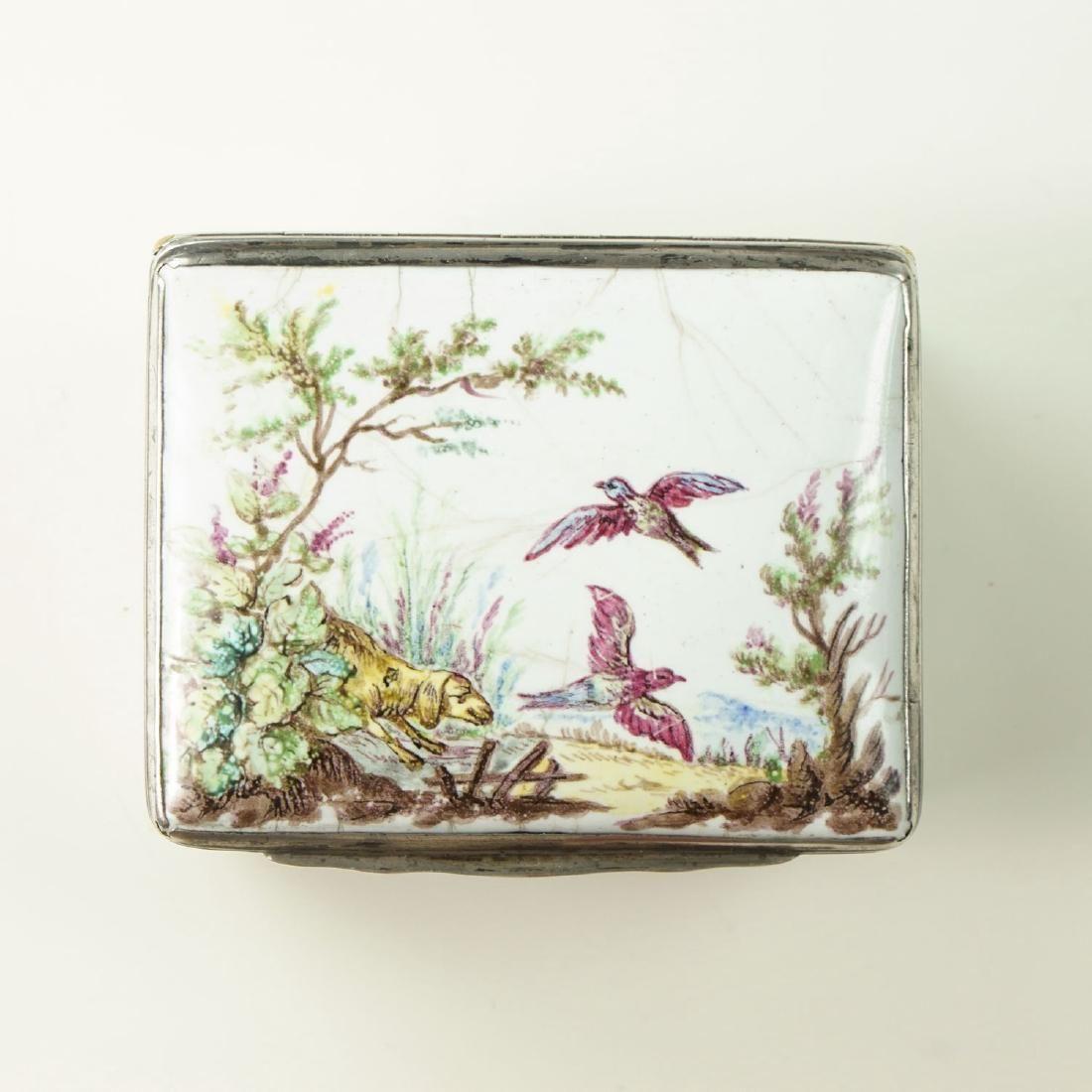 An Enamel snuff box Silver mounted