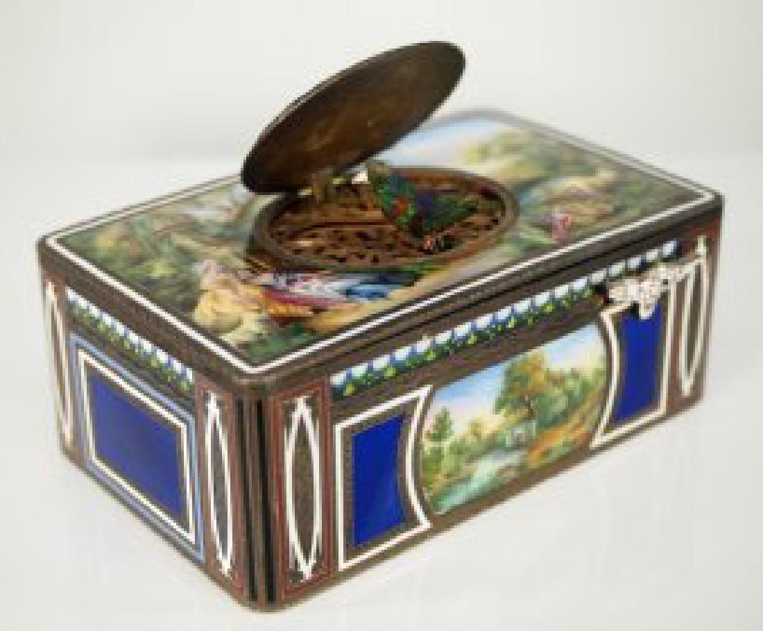 Silver and enamel singing bird box