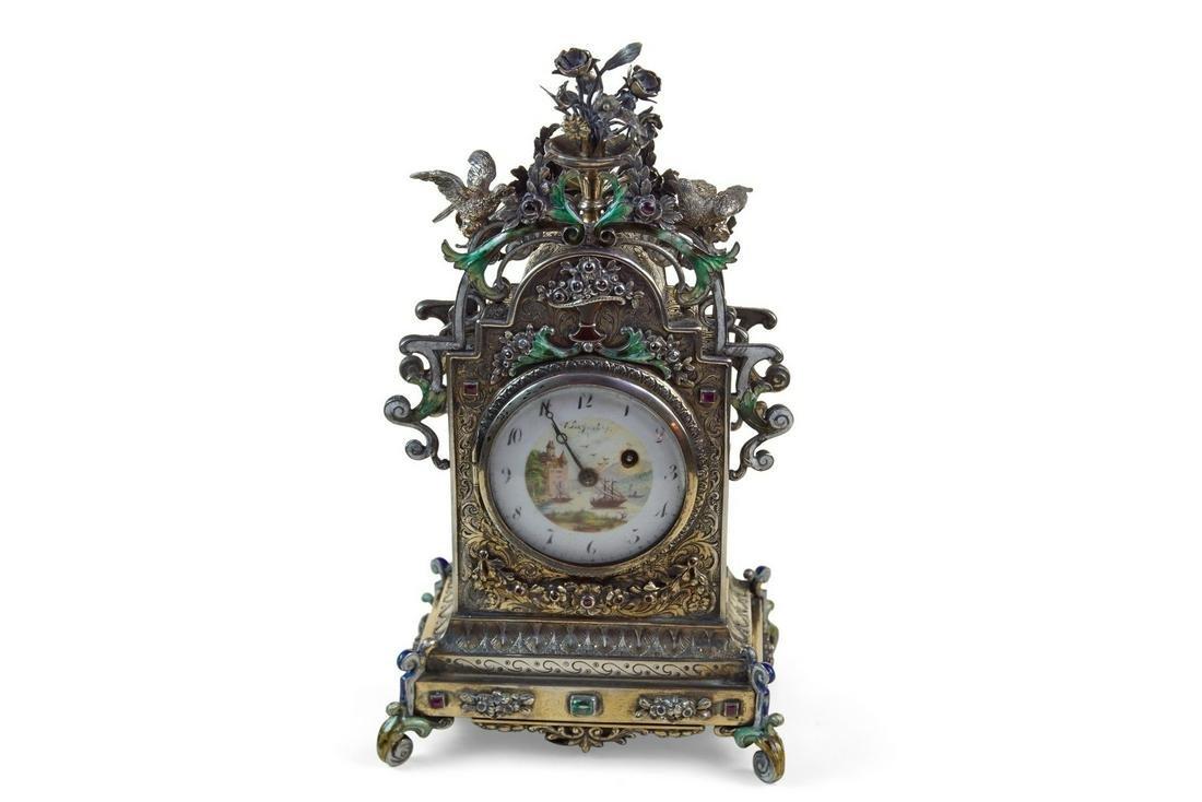 Viennese Silver Gilt Gem-Set Clock