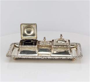 Tiffany antique double silver inkwell and Tray