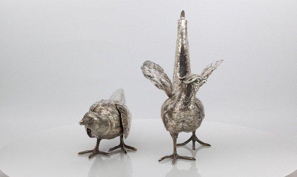 A pair of German Silver Pheasants
