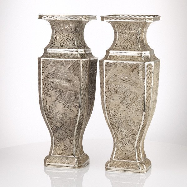 Pair of Chinese Export Silver Filigree Vases