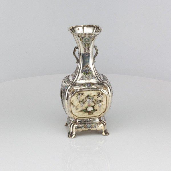 Japanese Enamelled Silver and Shibayama Vase