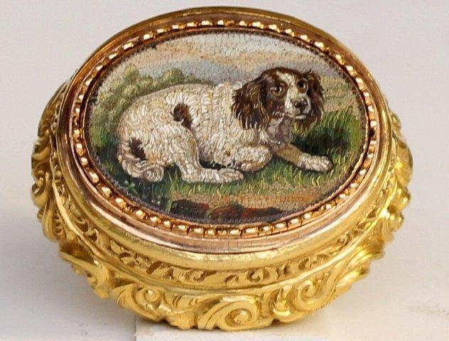 An 18ct Gold and Micro Mosaic Vinaigrette