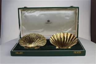 Pair of 20th Century silver gilt butter shells