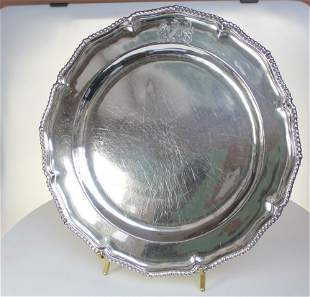 Large silver George III second course dish