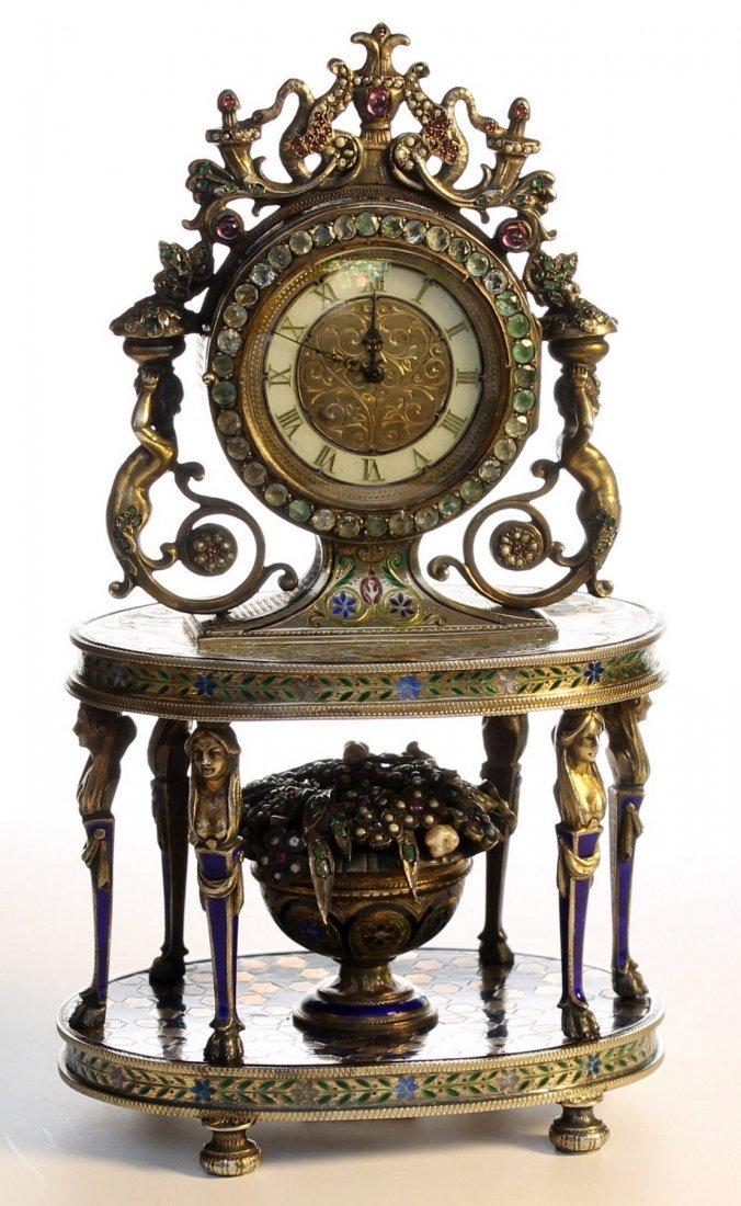 A silver and enamel gem set clock ,.Vienna c1875