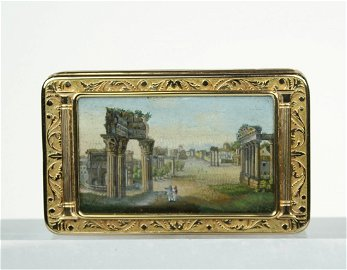 A Gold and mirco-mosaic snuff box. Italian c1800