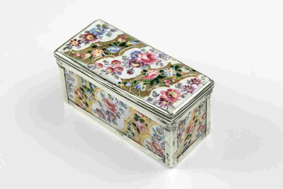 A French enamel silver-mounted snuff box