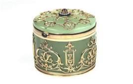 A Faberge Gold Bowenite box by Mikheil Perchin