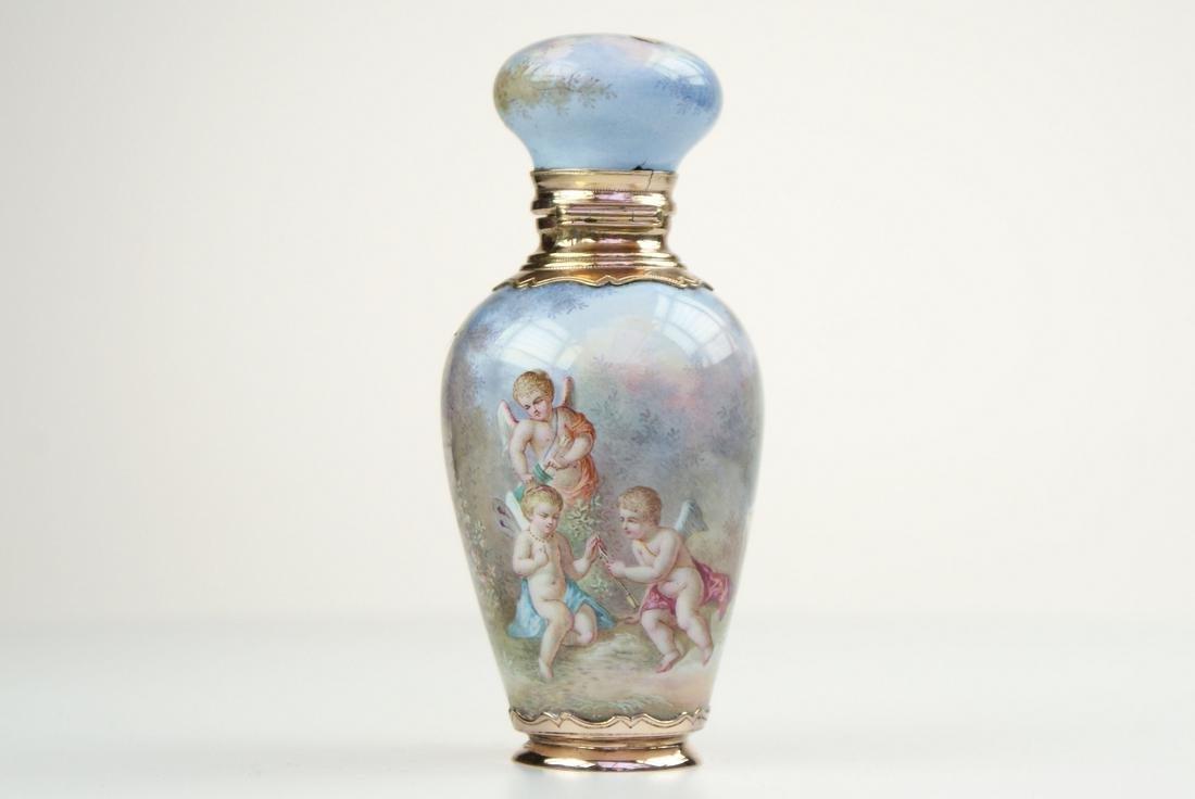 A fine gold mounted French enamel perfume bottle