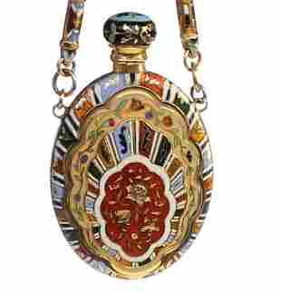 A gold & enamel scent flask. Swiss c1800