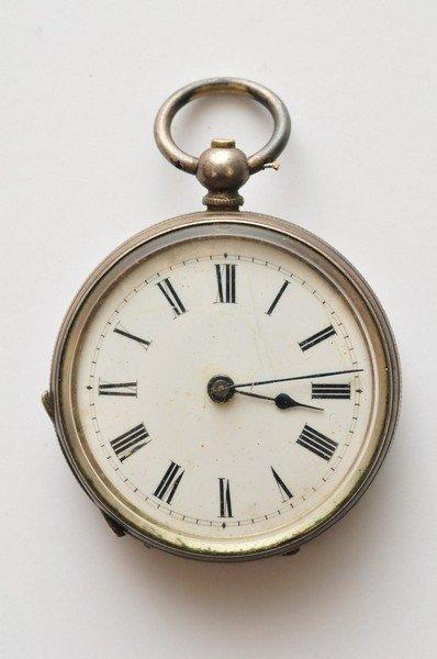 A ladies silver cased key wind fob watch