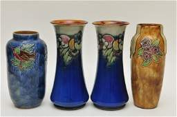 A pair of Royal Doulton stoneware vases together with t