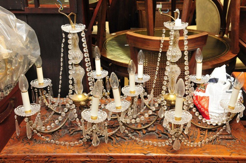Another pair of brass and glass drop chandeliers
