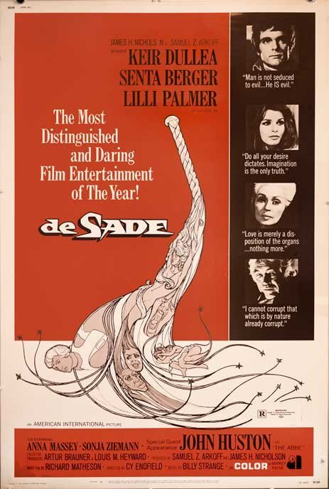 DE SADE (1969) S&M sex fetish whip movie poster 40x60