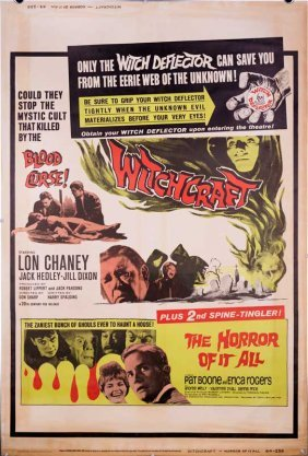 Witchcraft Horror (double Feature) 1964 Poster Rare