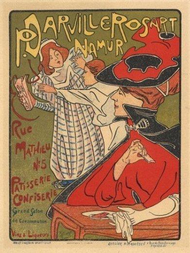 P. DARVILLE-ROSART NAMUR Belgian Art Nouveau poster