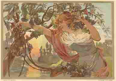 RAISINS Art nouveau French antique lithograph