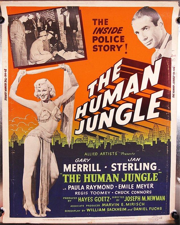 THE HUMAN JUNGLE 1954 cardstock silkscreen sexy