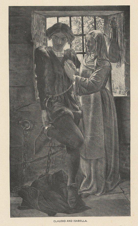 CLAUDIO AND ISABELLA antique engraving Shakespeare c.