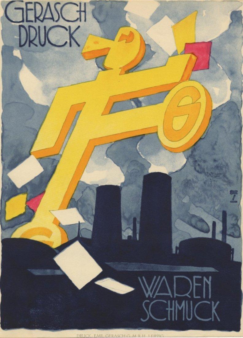 GERASCH DRUCK lithograph Hohlwein German factory