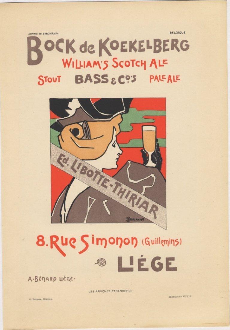 BOCK DE KOEKELBERG Berchmans alcohol lithograph 1897