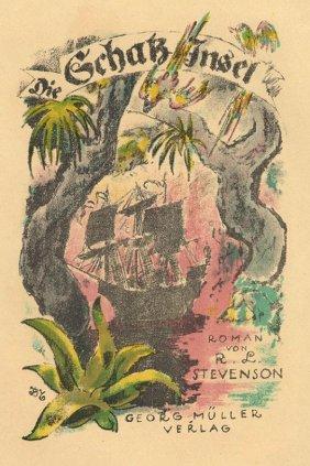 Treasure Island Stevenson German Lithograph 1921