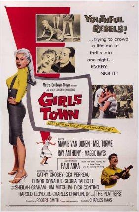 Girls Town (1959) 27x41 Poster On Linen Mamie Van Doren