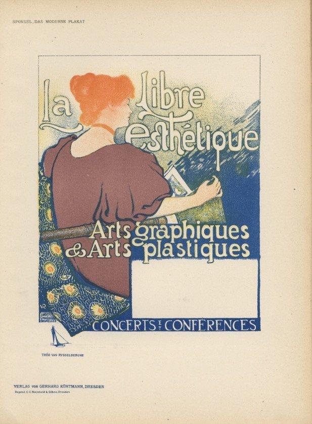 LA LIBRE ESTHETIQUE art nouveau lithograph 1897