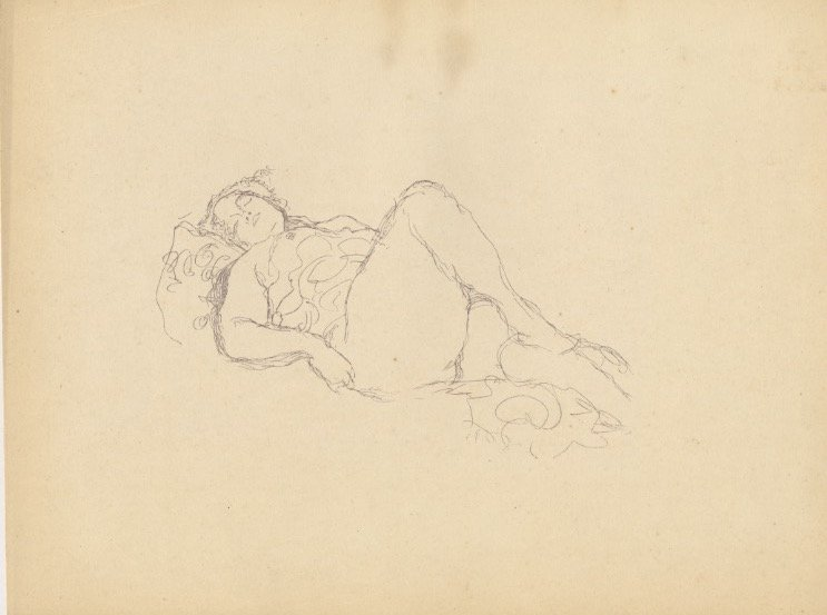 KLIMT 1922 lithograph reclining nude